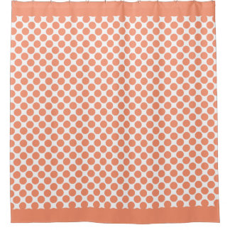 Cadmium Orange Polka Dots Shower Curtain