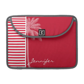 Cadmium Red Stripes; Striped; Palm Sleeve For MacBooks