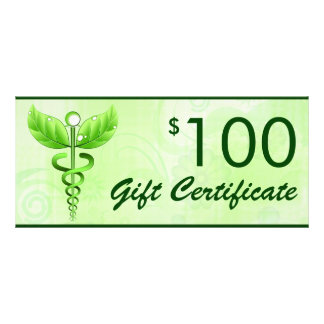 Caduceus Alternative Medicine $100 Gift Voucher Rack Card Design