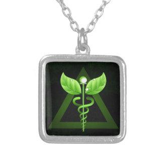 Caduceus Alternative Medicine Square Necklace