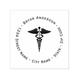 Caduceus Symbol Return Address Self-inking Stamp