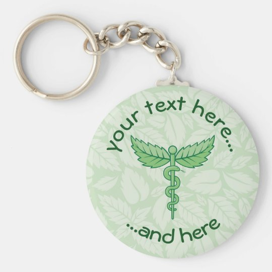 Caduceus with leaves background basic round button key ring
