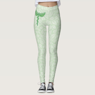 Caduceus with leaves background Single snake caduc Leggings