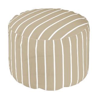 Cafe Latte White Pinstripe Round Pouffe