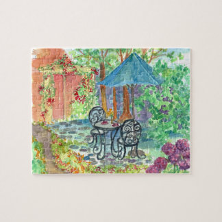 Cafe Outdoor Bistro Watercolor Garden Painting Jigsaw Puzzle