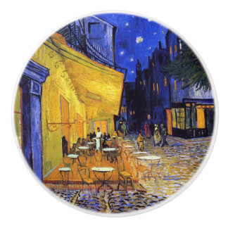 Cafe Terrace at Night by Vincent van Gogh Ceramic Knob