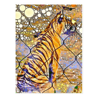 Caged Tiger Art Postcard