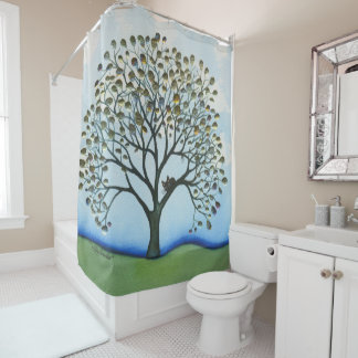 Cairo Whimsical Cat in Tree Shower Curtain