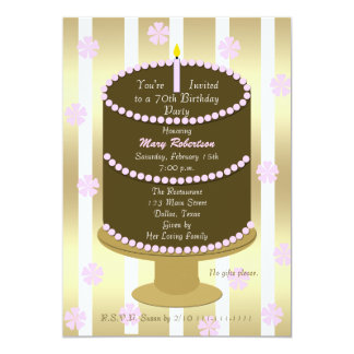 Cake 70th Birthday Party Invitation 70th in Pink