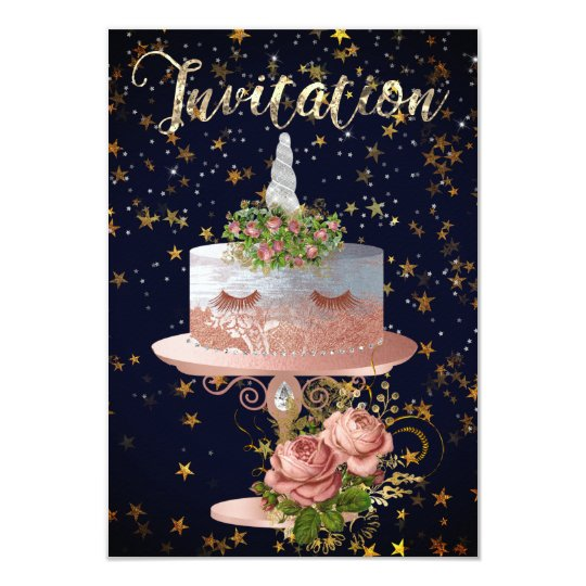 Cake Unicorn Rose Blue Navy Stars Gold Night Card