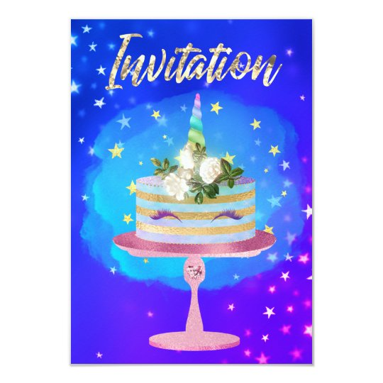 Cake Unicorn Rose Gold Starry Night Blue Pink Card
