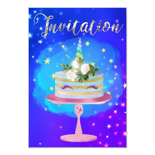 Cake Unicorn Rose Gold Watercolor Starry Night Card