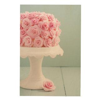 Cake with sugar roses wood wall art