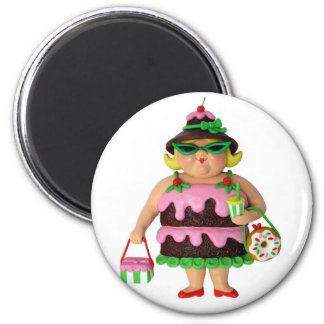 Cake Woman 6 Cm Round Magnet
