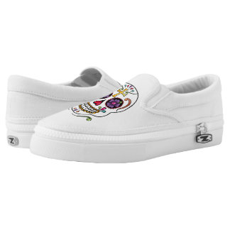 Calaveras Celebration: Skulls-white slipons Printed Shoes