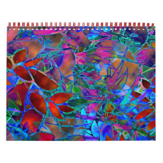 Calendar 2014 Floral Abstract Stained Glass