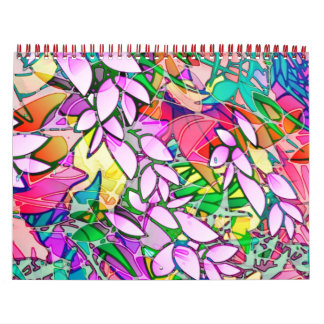 Calendar 2014 Grunge Art Floral Abstract