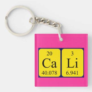 Cali periodic table name keyring Single-Sided square acrylic key ring