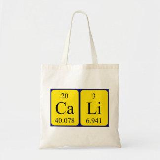 Cali periodic table name tote bag