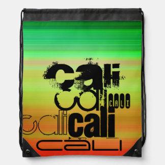 Cali; Vibrant Green, Orange, & Yellow Drawstring Bag