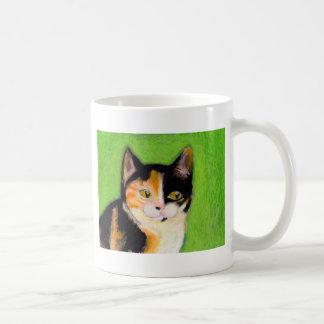 Calico cat kitten art fun cute original drawing mug