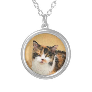 Calico Cat Painting - Cute Original Cat Art Silver Plated Necklace