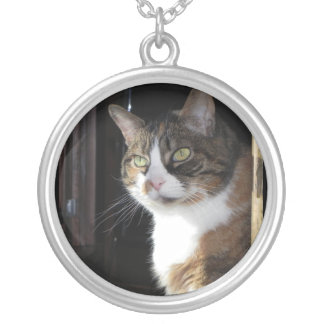 Calico Cat Silver Plated Necklace