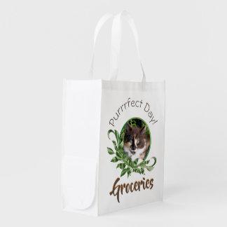 Calico Green Eyed Kitten Reusable Grocery Bag