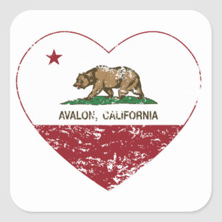 california flag avalon heart distressed square sticker
