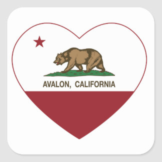 california flag avalon heart square sticker