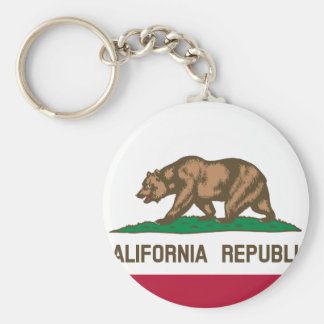 California Flag Basic Round Button Key Ring