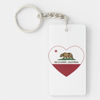 california flag bellflower heart Double-Sided rectangular acrylic key ring