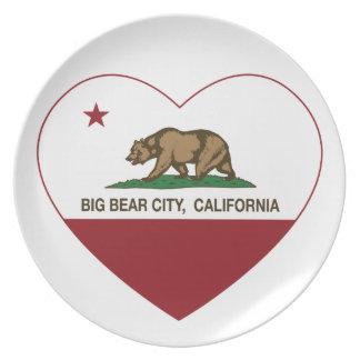 california flag big bear city heart dinner plates