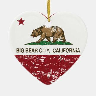 california flag big bear city heart distressed christmas tree ornament