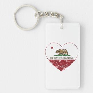 california flag big bear city heart distressed Double-Sided rectangular acrylic key ring