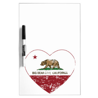 california flag big bear city heart distressed Dry-Erase whiteboard
