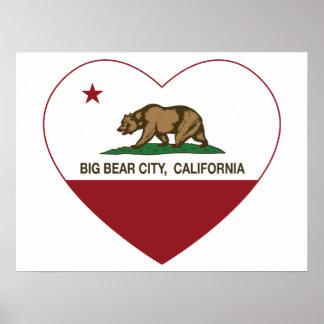 california flag big bear city heart poster