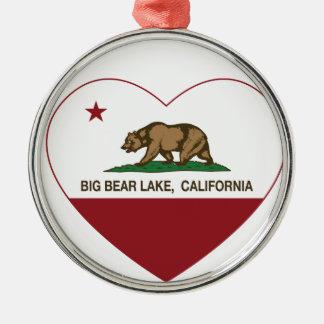 california flag big bear lake heart ornament