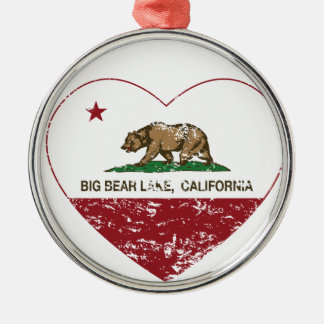 california flag big bear lake heart distressed christmas tree ornament