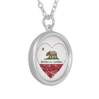 california flag big bear lake heart distressed pendant