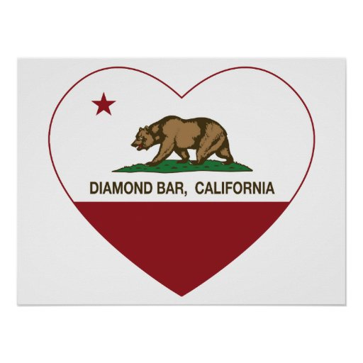 california flag diamond bar heart posters