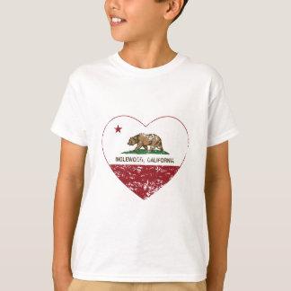 california flag inglewood heart distressed T-Shirt