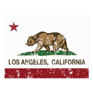 california flag los angeles distressed postcard