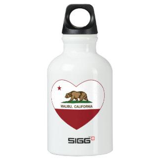 california flag malibu heart water bottle
