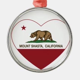 california flag mount shasta heart ornament