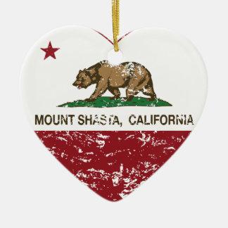 california flag mount shasta heart distressed Double-Sided heart ceramic christmas ornament