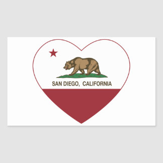 california flag san diego heart rectangular sticker