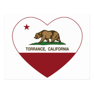 california flag torrance heart postcard