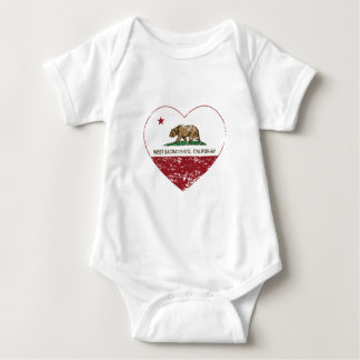 california flag west sacramento heart distressed baby bodysuit
