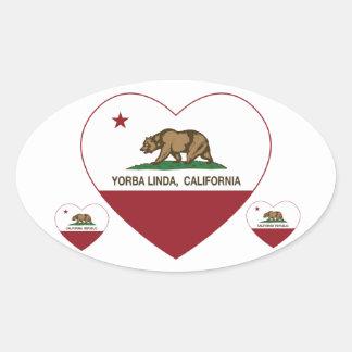 california flag yorba linda heart oval sticker